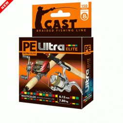 Леска плетеная AQUA Pe Ultra Elite Cast Multicolor 0.12мм 150м