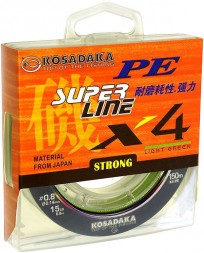 Леска плетеная Kosadaka Super PE X4 light green 0.12 150м